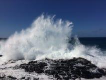 Big Waves in Queen`s Bath in Princeville on Kauai Island, Hawaii. Royalty Free Stock Photography