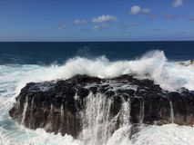 Big Waves in Queen`s Bath in Princeville on Kauai Island, Hawaii. Royalty Free Stock Images