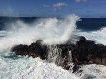 Big Waves in Queen`s Bath in Princeville on Kauai Island, Hawaii. Stock Photo