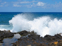 Big waves on rock coast blue sea and sky on Crete Royalty Free Stock Image