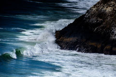 Big Waves Beside Seashore Beside Black Rock Stock Image