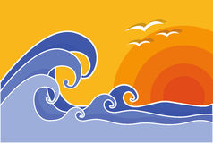 Big waves with sun and seagulls, vector, illustration. Summer. Royalty Free Stock Photo
