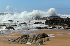 Big waves in a sunny day Royalty Free Stock Image