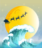 Big waves under the bright full moon Stock Images