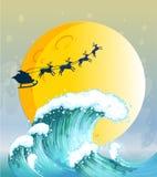 Big waves under the bright full moon. Illustration of the big waves under the bright full moon vector illustration