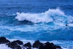Big waves and water splashes. Big waves and water splashes near coast of Atlantic ocean Stock Image