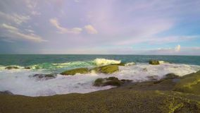 Big waves in a windy day in Costa Brava in 4K, Spain.  stock footage