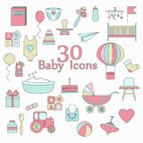 Big web icon  set. Baby, toy, feed and care. 30 colorful ready to use isolated icons on white background Stock Images