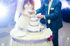Big wedding cake. Groom with bride cut Stock Photos