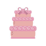 Big wedding cake pink ribbon heart Royalty Free Stock Image