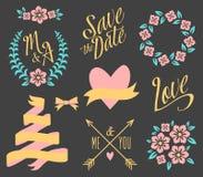 BIG Wedding graphic set. On black royalty free illustration