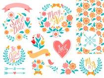 BIG Wedding graphic set. On white royalty free illustration