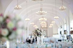 Big wedding hall well decorated in pastel colors - chandeliers on vaulting royalty free stock photos