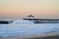 Big Wednesday 2007 Dawn Manhattan Beach Pier Royalty Free Stock Photography