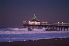 Big Wednesday 2007 Predawn Manhattan Beach Pier Stock Images