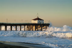 Big Wednesday 2007 Whitewater Manhattan Beach Pier Royalty Free Stock Photography