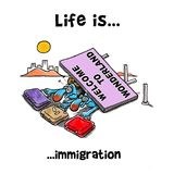 Big welcoming billboard fell on top of immigrants. Couple at the border vector illustration