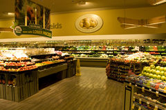Big grocery store with organic choices. A big and well organized supermarket with organic food Royalty Free Stock Images
