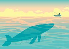 Big whale and fisherman. Sea vector. Silhouette of big whale and fisherman in the ocean. Vector illustration with fisherman and sea creatures Royalty Free Stock Image