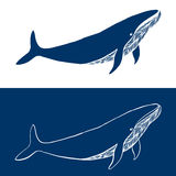 Big Whale. Hand drawn fish logo. Simple icon design in blue and white colors. Vector illustration.  Stock Photo