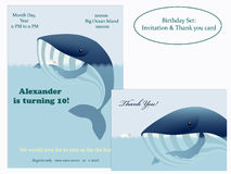 Big whale and little ship. Birthday Invitation. Stock Image