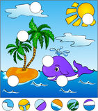 A big whale swiming in the sea. complete the puzzle and find the. Missing parts of the picture. Vector illustration. Educational game for kids Stock Photography