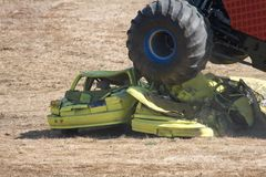 Big Wheel. Big tire crushing some cars Stock Photography