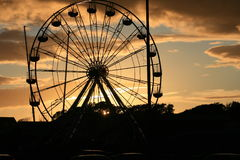 Big Wheel. Funfare at dusk in Salthill, Galway. The main attraction is the big wheel Royalty Free Stock Photos