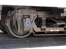 Big Wheel. Wheel on the steam engine of a narrow gauge train Stock Photo
