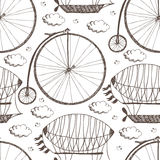 Big wheel bicycle and airships Stock Photography