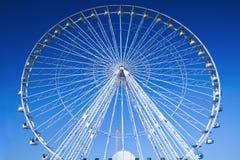 Big Wheel, breathtaking blue sky. Big wheel in Paris with egyptian obelisk and breathtaking blue sky stock photos
