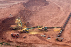 Big wheel of bucket wheel excavator in a  open pit Royalty Free Stock Images