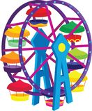 Big Wheel Carnival Vector Illustration. For many purpose such as book illustration, game, print on canvas, paper, stationery, etc. EPS 10 format file Royalty Free Illustration