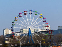 Big wheel. The big wheel costs on the bank of the sea gulf Stock Image