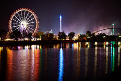 Big wheel on funfair with reflexion in river Royalty Free Stock Photo