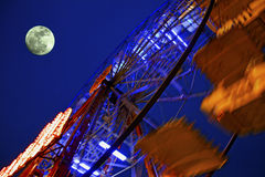 Big Wheel and moon Royalty Free Stock Image