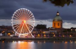 Big wheel at night with lights and the dome Royalty Free Stock Images