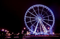 Big wheel. At night lights Paris Royalty Free Stock Photo