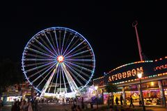 Big Wheel and other rides, Prater Park, Vienna Royalty Free Stock Photo