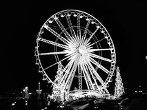 Big Wheel in paris on night stock images