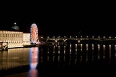 Big wheel and Saint Pierre bridge at night Royalty Free Stock Images