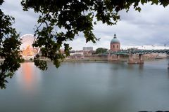 Big wheel and Saint Pierre bridge in toulouse Royalty Free Stock Images