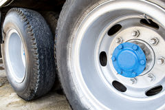Big wheel and tires of big trailer Royalty Free Stock Photo