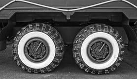 Big wheels. Modified truck wheels close-up Stock Photo