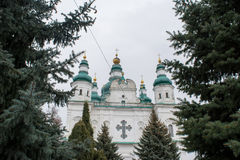 Big white ancient christian cathedral with crosses Royalty Free Stock Photo