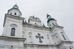 Big white ancient christian church with crosses Stock Photography