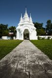 Big White Arch in Chiang Mai, Thailand. Large white entrance gate at Wat Suan-Dok, Chiang Mai province, Thailand Stock Images