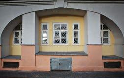 Big white ark near yellow wall Royalty Free Stock Photography