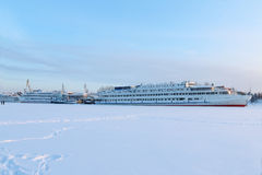 Big white beautiful passenger ships Stock Images