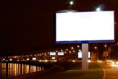 Big white billboard. The big white billboard on night quay Royalty Free Stock Photos